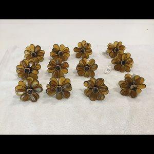Other - 12 Flower Napkin Ring Holders Amber color